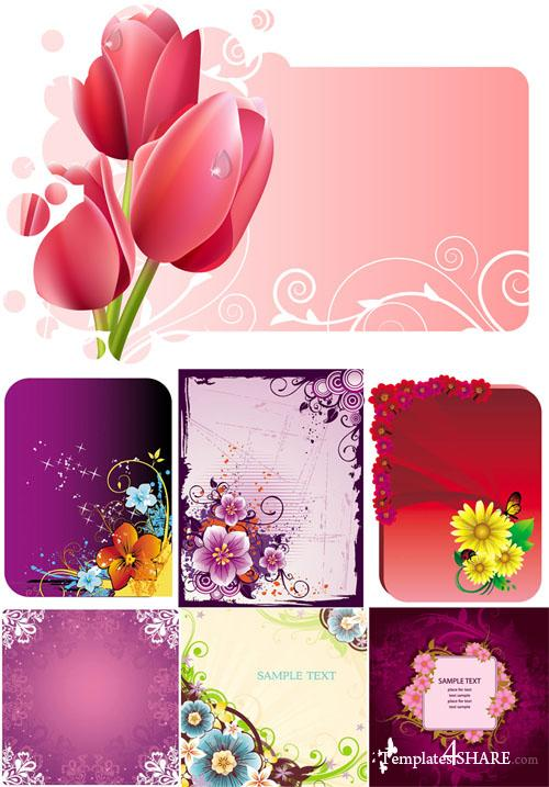 Spring Flower Frames Vector Pack