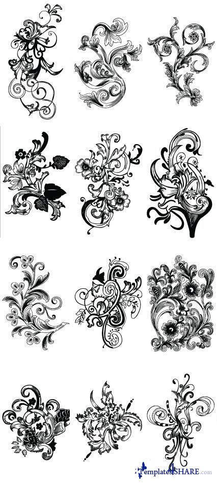 Floral Design Elements Vectors