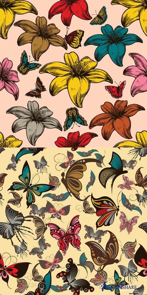 Retro Butterfly Vector Textures