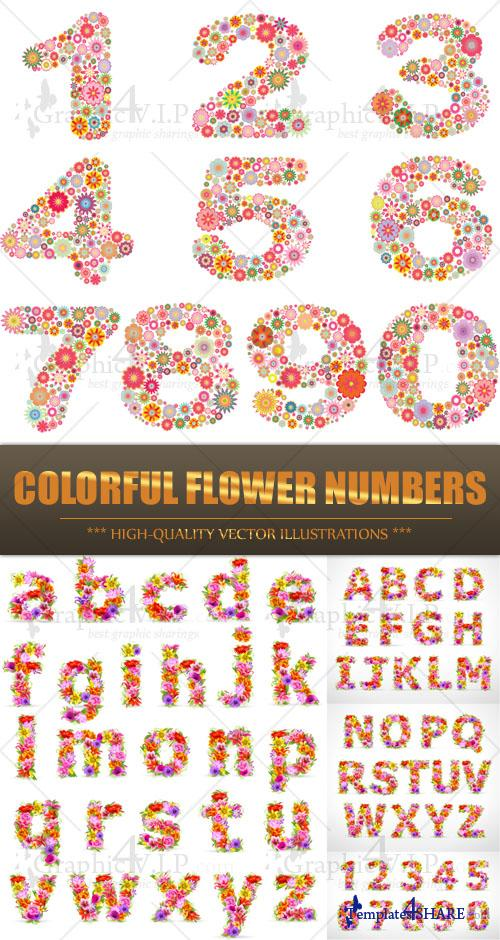 Colorful Flower Numbers - Stock Vectors