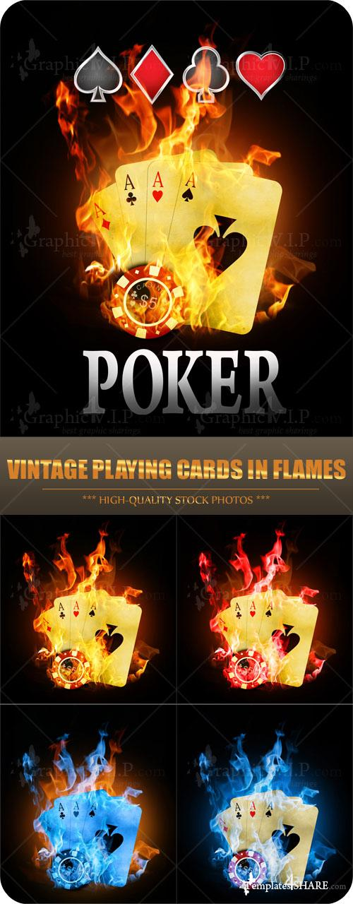 Vintage Playing Cards in Flames - Stock Photos