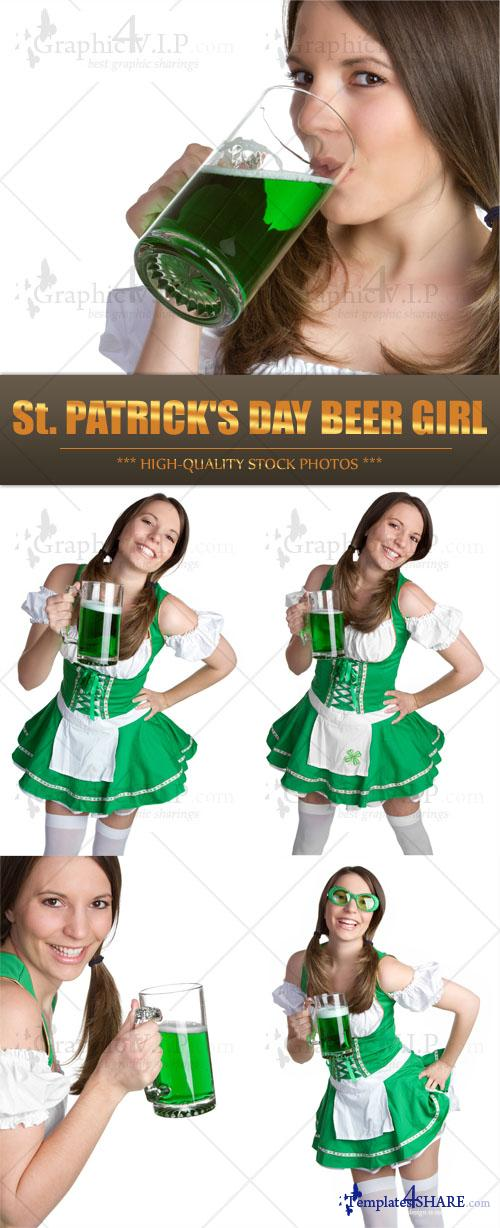 St. Patrick's Day Beer Girl - Stock Photos