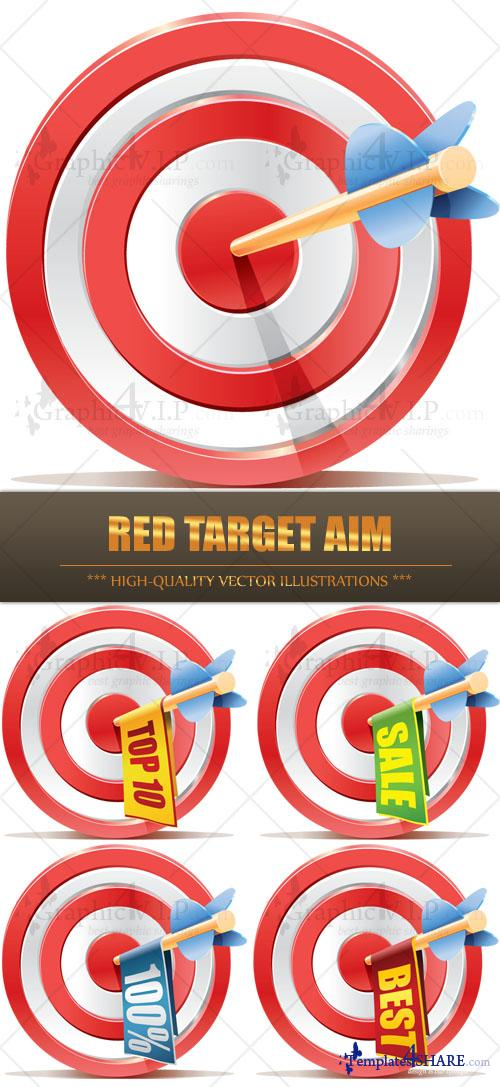 Red Target Aim - Stock Vectors