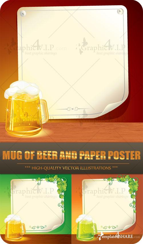 Mug of Beer and Paper Poster - Stock Vectors