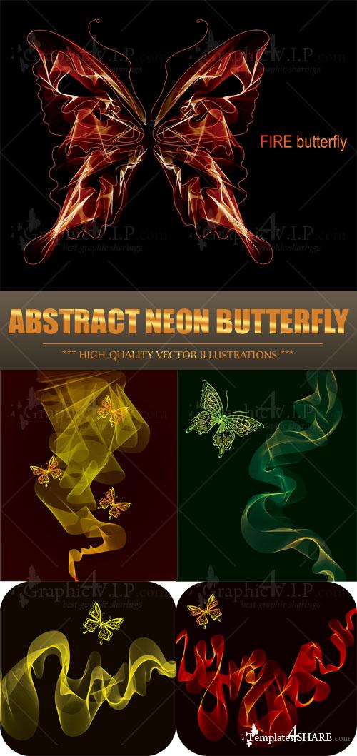 Abstract Neon Butterfly - Stock Vectors