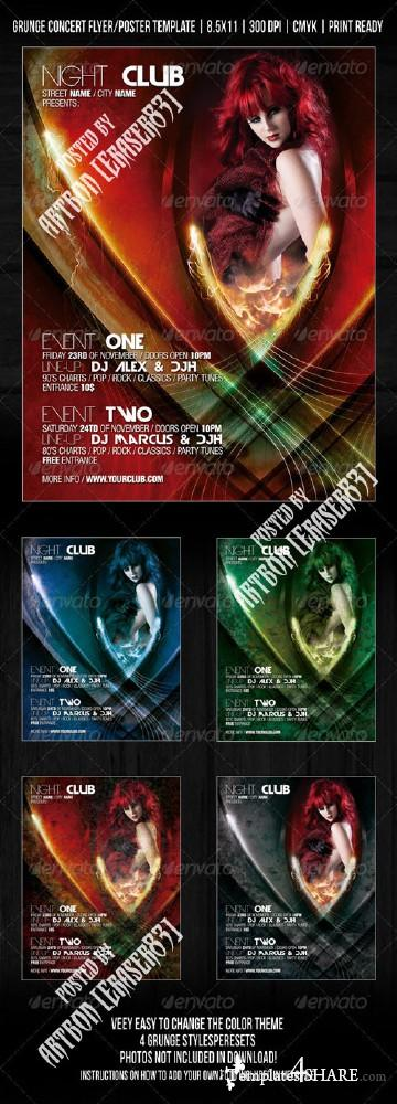 GraphicRiver Gothic Night Club Party / Concert Flyer / Poste