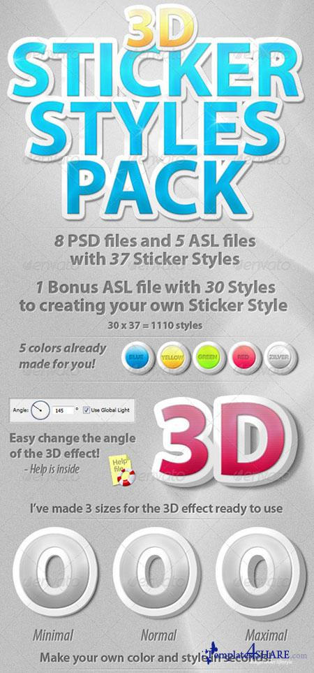 GraphicRiver 3D Sticker Styles Pack