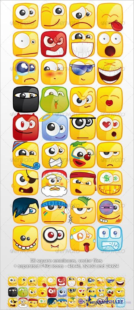 GraphicRiver 36 Square emoticons PACK