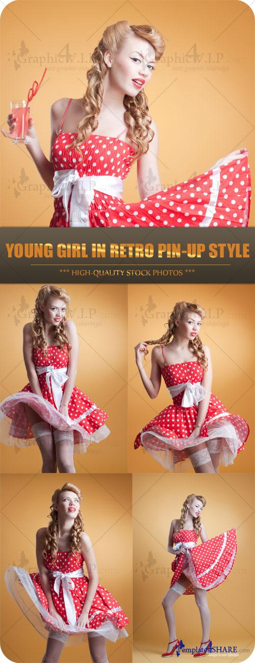 Young Girl in Retro Pin-up Style - Stock Photos