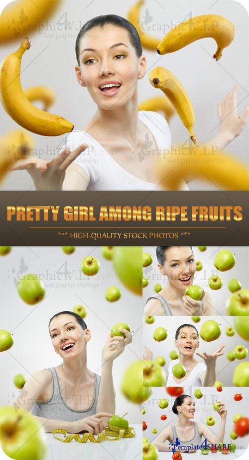 Pretty Girl among Ripe Fruits - Stock Photos