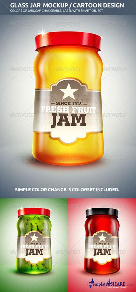 GraphicRiver Glass Jar Mockup / Cartoon Design