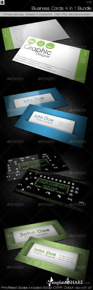 GraphicRiver Business cards 4 in 1 Bundle