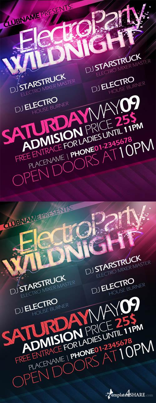 Electro Party Wildnight Flyer/Poster Template