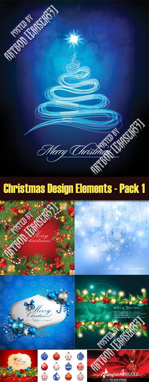 Christmas Design Elements Vectors - Pack 1