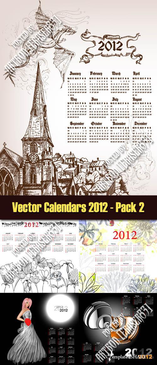 Vector Calendar Templates Collection Of 5 Vector 2012 Calendar/page/2 ...