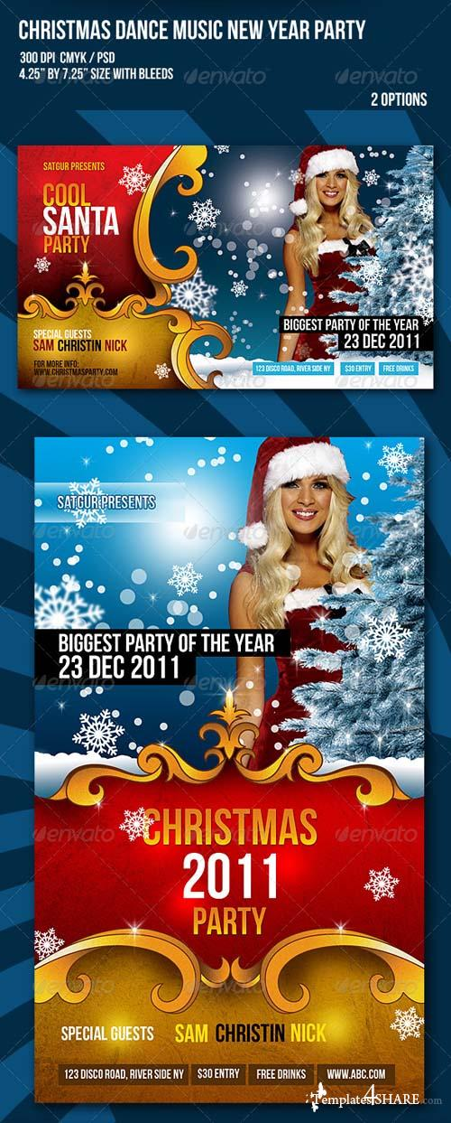 GraphicRiver Christmas New Year Dance Party Night Flyer