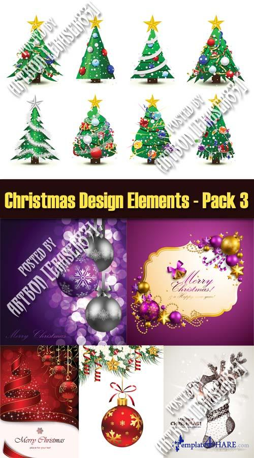 Christmas Design Elements Vectors - Pack 3