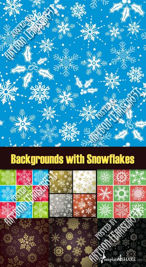 Vector Backgrounds with Snowflakes