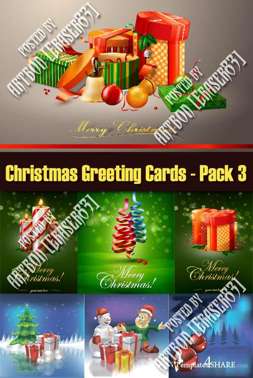 Christmas Greeting Cards Vectors - Pack 3