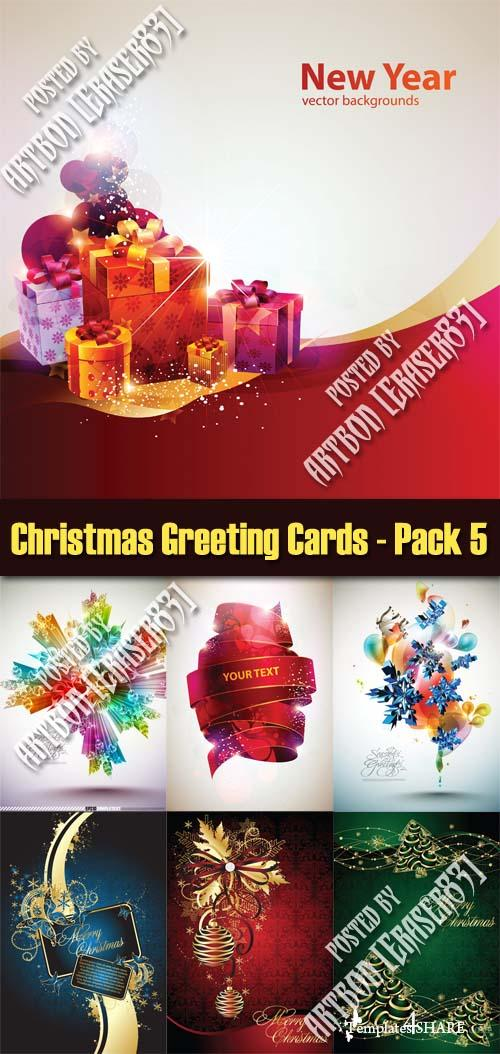 Christmas Greeting Cards Vectors - Pack 5