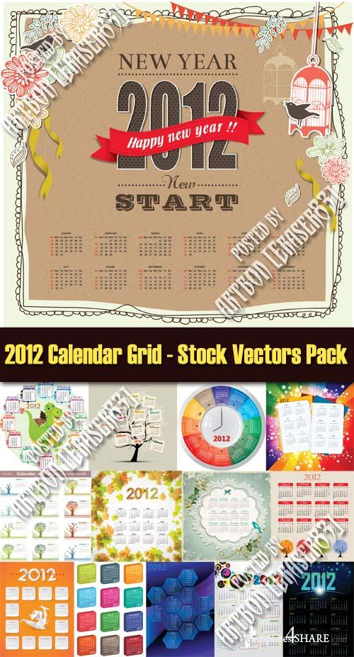 2012 Calendar Grid - Huge Vector Pack