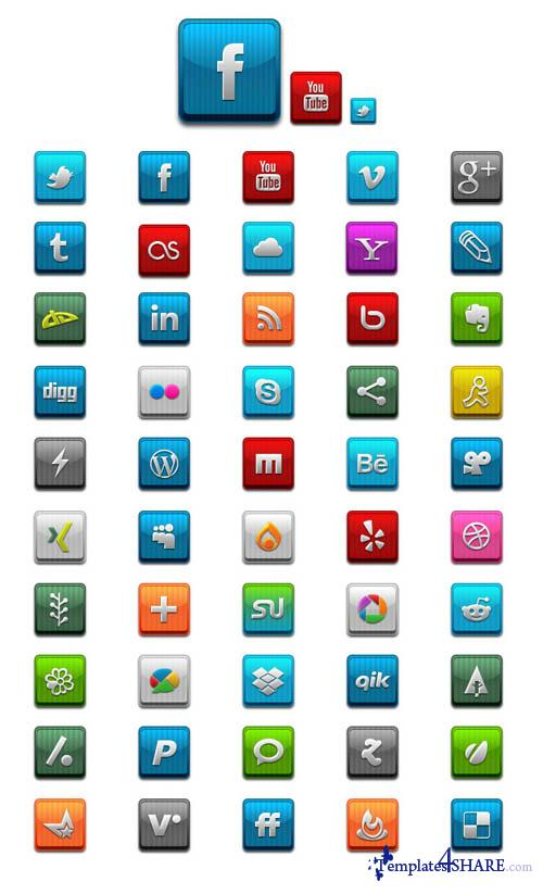 Social Media Icons - PSD Template