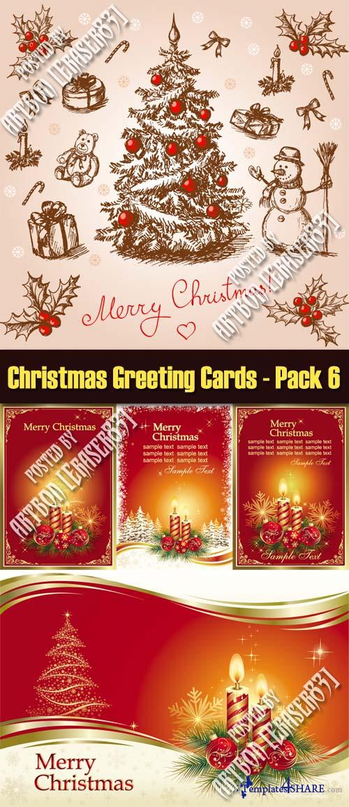 Christmas Greeting Cards Vectors - Pack 6