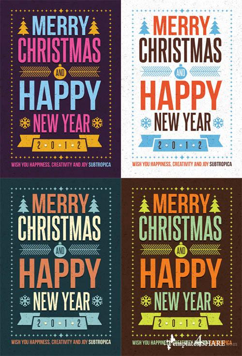 Creative Winter Holidays Postcard - PSD Template