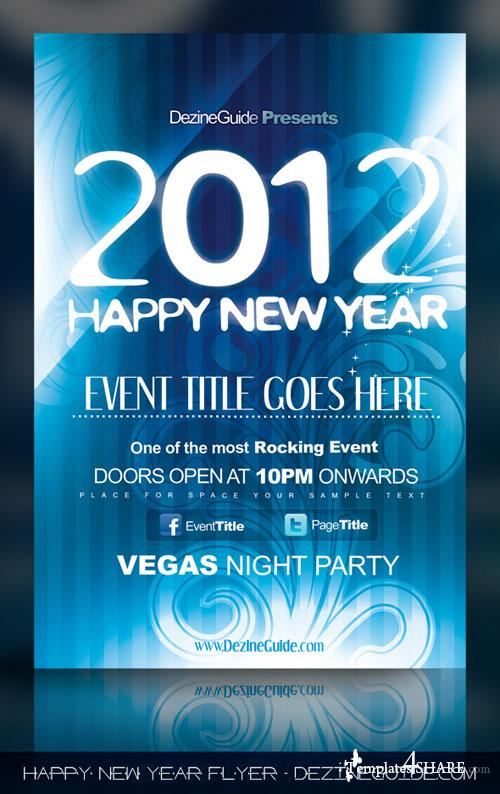 Happy New Year Flyer/Poster Template - Free PSD Template