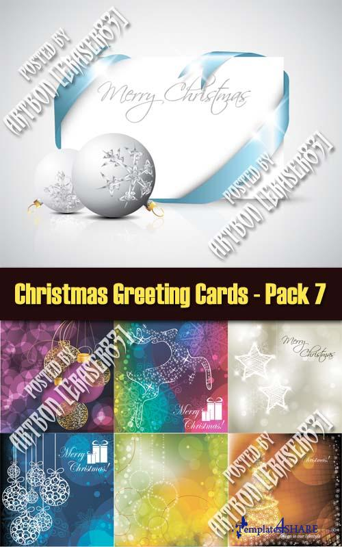 Christmas Greeting Cards Vectors - Pack 7