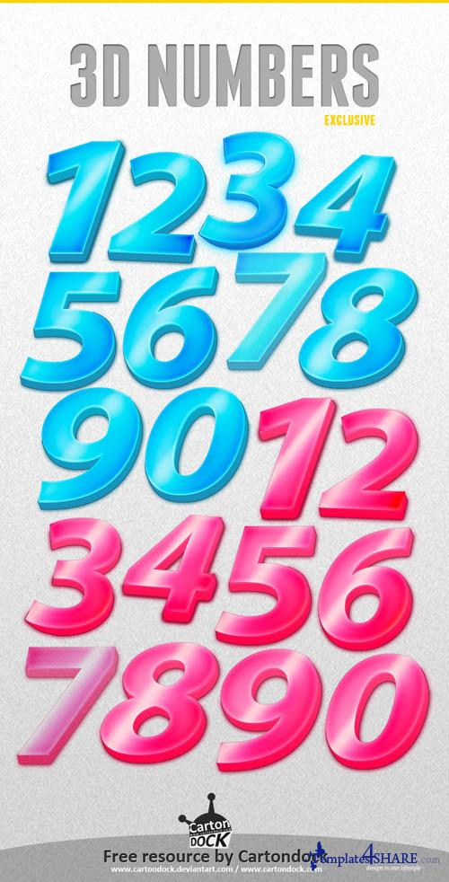 3D Numbers Free PSD Template