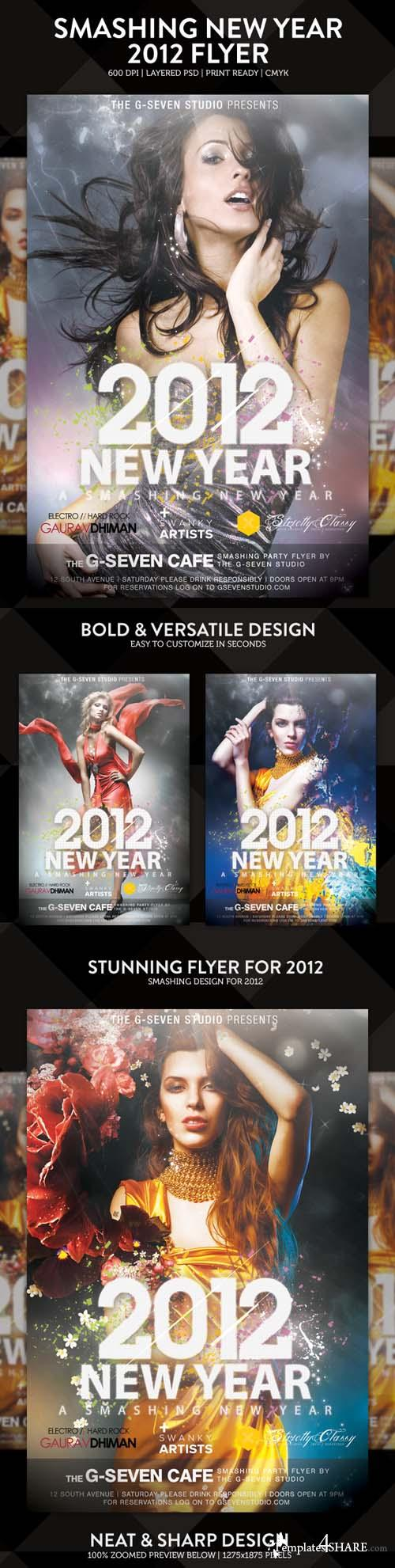 Smashing New Year 2012 Flyer/Poster - PSD Template