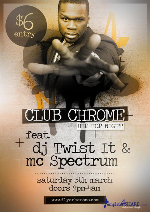 ClubChrome Hip Hop Flyer PSD Template
