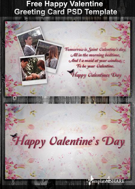 Free Happy Valentine Greeting Card PSD Template