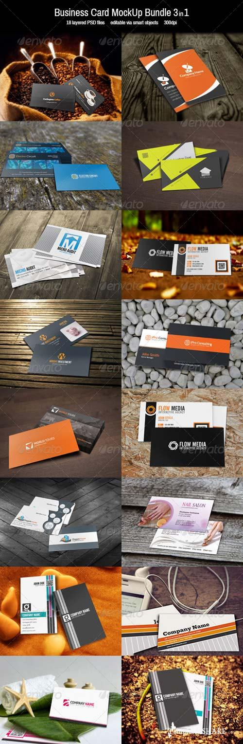 GraphicRiver Business Card MockUp-Bundle 3in1
